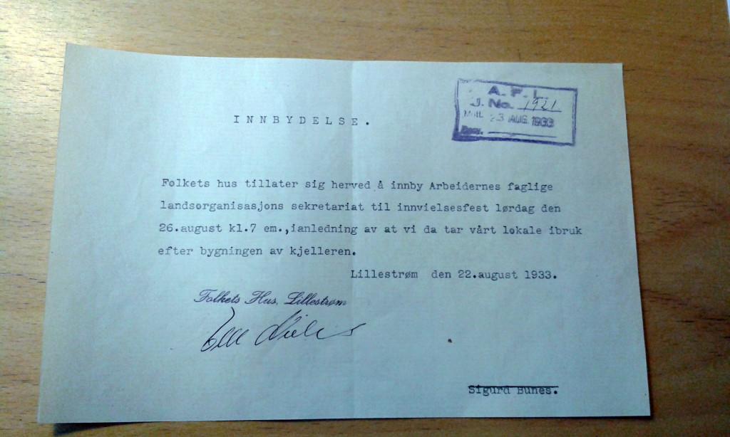 Mappe - Lillestrøm Folkets hus 1928-1980