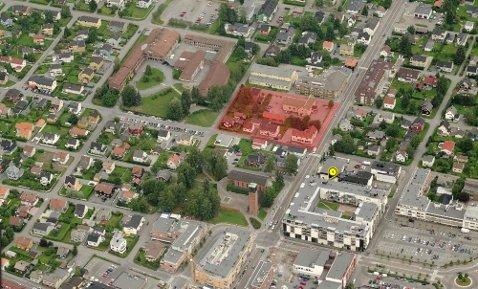 Folkets Hus og kvartalet som skal rives sett ovenfra 2014